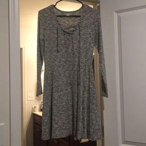 Long sleeve knee length sweater dress